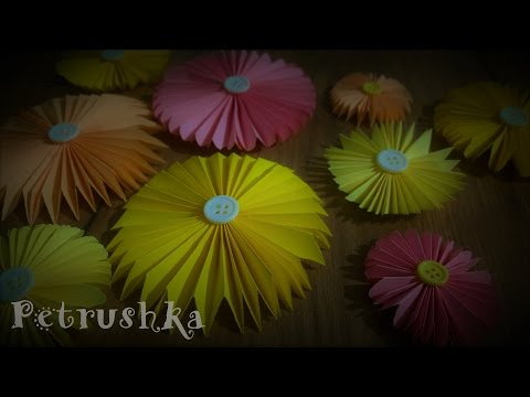DIY - How to make Colourful Paper Flowers with Buttons