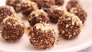 BÁNH VIÊN ƯỚP RƯỢU Không Lò Nướng / Rum Balls Without Oven   Nhung Cooking