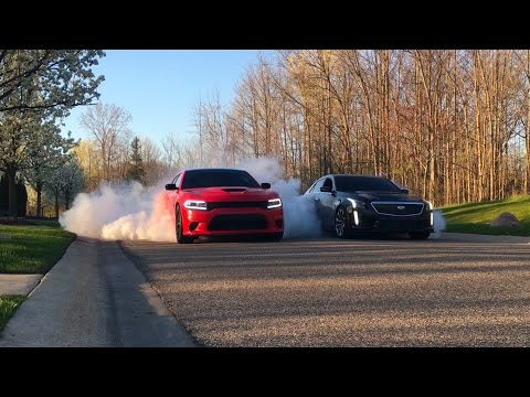 Hellcat Charger and CTS V BURNOUT!