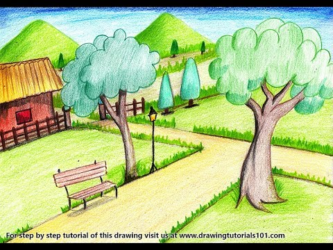 How To Draw A Garden Scenery Step By Step Very Easy Youtube