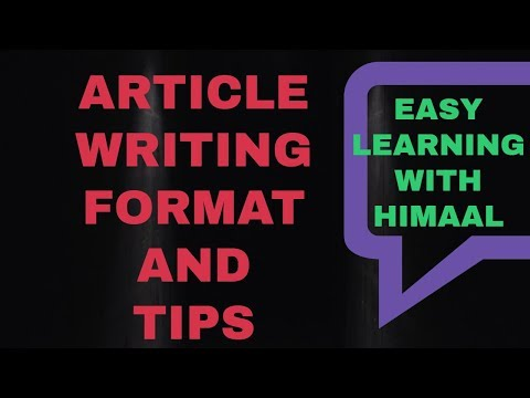 ARTICLE WRITING FORMAT CBSE// EASY LEARNING