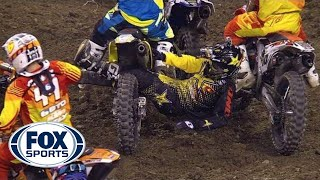 Ivan Tedesco Dragged by Legs Across Track - Indianapolis Supercross 2014