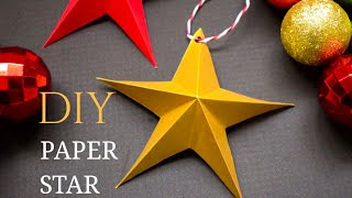 DIY One Minute Paper Star Ornaments | Easy Christmas Tree Ornaments from Paper #christmasstar