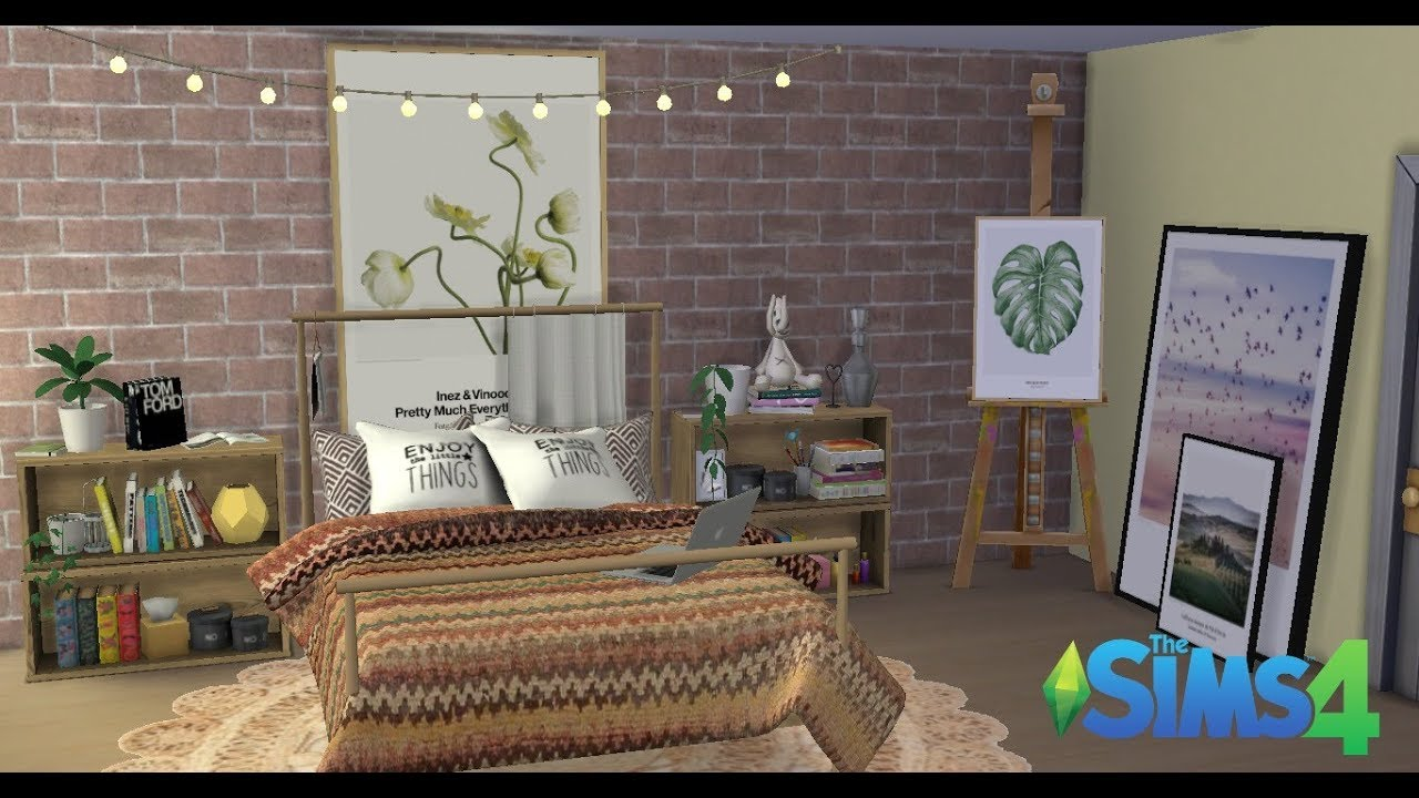 The Sims 4 Tumblr Artist Bedroom Speed Build Youtube