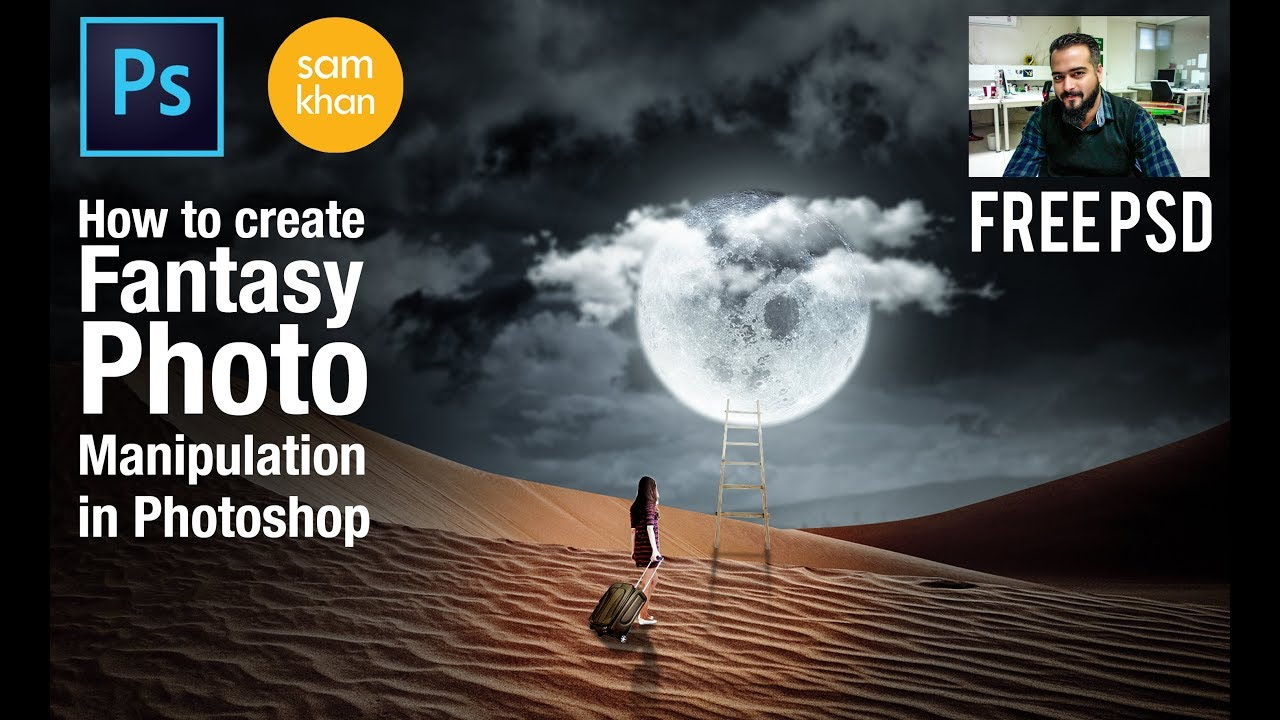 How to create Photoshop Fantasy Tutorial: Stairs to Moon -Photo Manipulation 2017 by samkhancreative