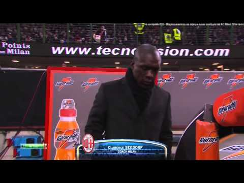 Clarence Seedorf at his first game as a coach for AC Milan Serie A 2014 HD