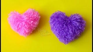 CORAZONES DE LANA O ESTAMBRE manualidades fáciles para San Valentin - 14 de Febrero