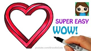 How to Draw Impossible Heart EASY | Optical Illusion Fun