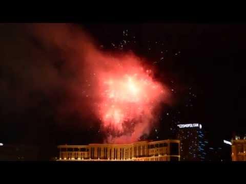 Fireworks Show In Las Vegas 2015. Platinum Hotel.