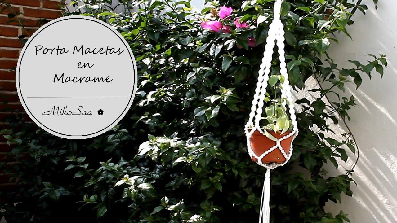Diy porta macetas macrame diy flower pot support mikosaa youtube - Como hacer maceteros colgantes ...