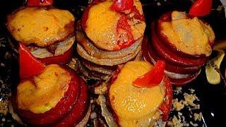 Кабачок запеченный с фаршем. Пирамидки. Закуска с кабачком, помидорами и мясом.