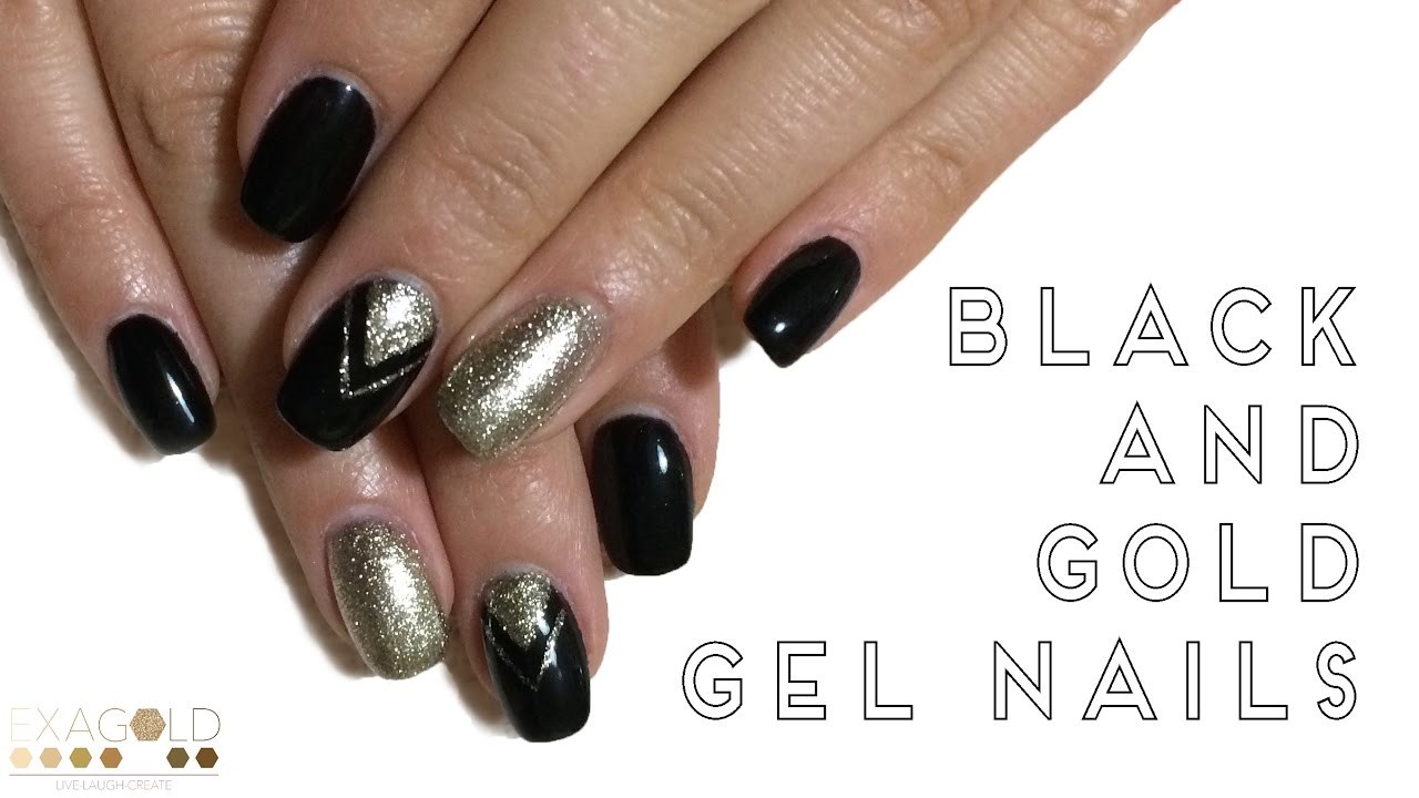 BLACK AND GOLD GLITTER GEL NAILS - TUTORIAL - YouTube