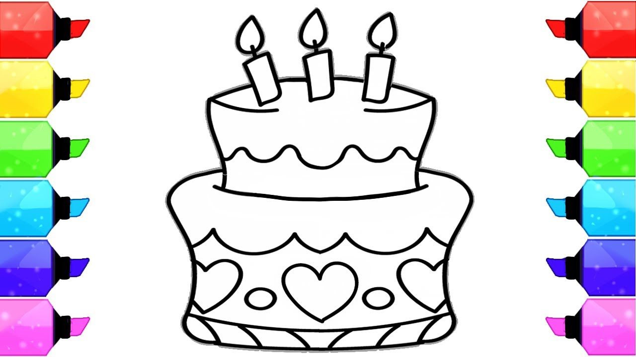 How to Draw Birthday Cake Coloring Pages for kids | Learn Drawing ...