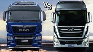 Войны грузовиков: Хендай Хсиент vs МАН ТГХ || Hyundai Xcient vs MAN TGX