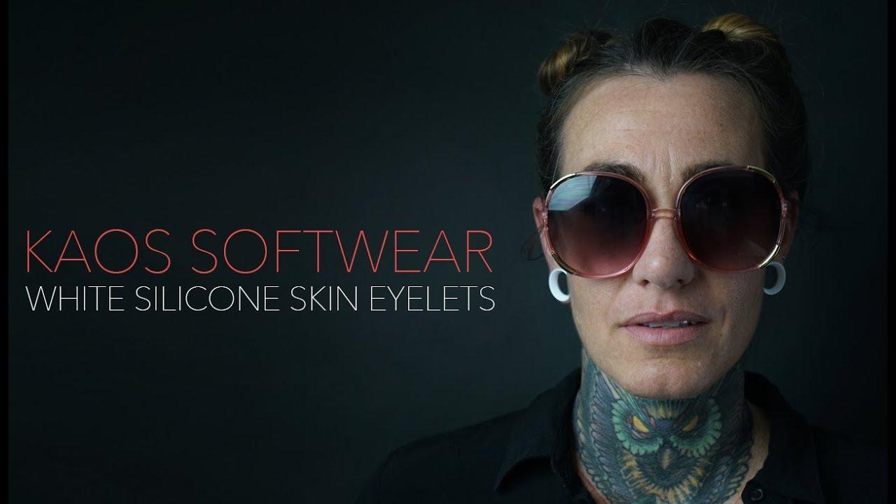 Kaos Pair of White Silicone Double Flared Skin Eyelets