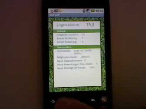 Golf HCP von mygolf.de auf HTC Magic