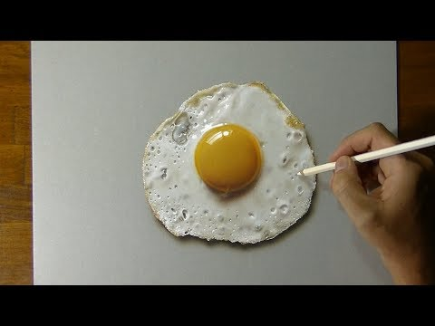 Drawing of a fried egg - How to draw 3D Art