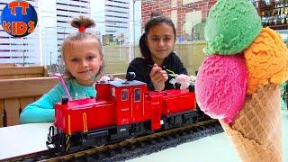 Влог Едим Мороженое Железная Дорога Поезд Мороженого Видео для детей Ice Cream for Kids
