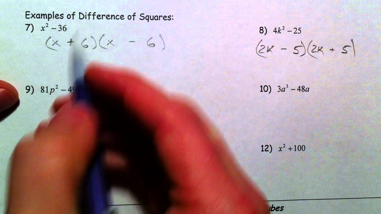 worksheet Factoring The Difference Of Two Perfect Squares Worksheet factoring perfect square trinomials and difference of squares youtube squares