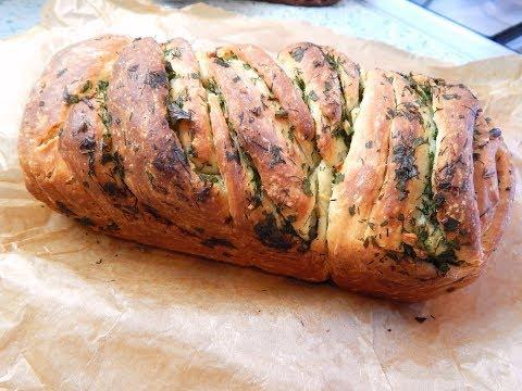Хлеб с чесноком и зеленью в мультиварке