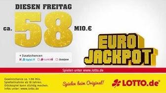 Eurojackpot: 58 Mio. € am Freitag, 15.07.2016