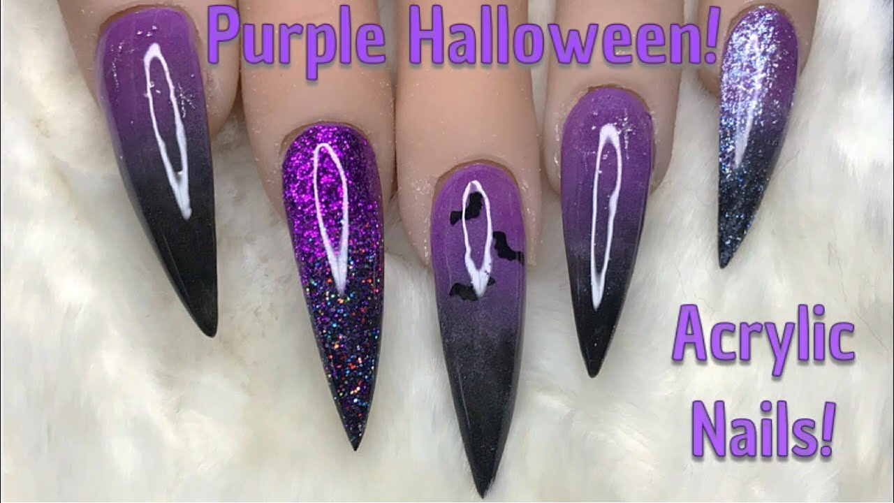 Purple Halloween Nails | Acrylic Nails | Nail Sugar - YouTube