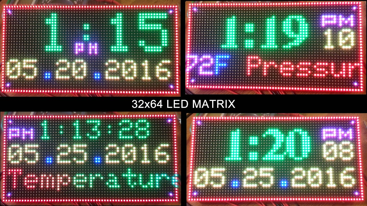 Rgb led matrix display clock arduino mega with