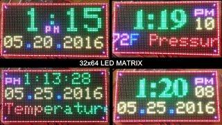 64x32 RGB Led Matrix Display Clock Arduino Mega2560 with BMP180 - Temperature, Pressure scrolling