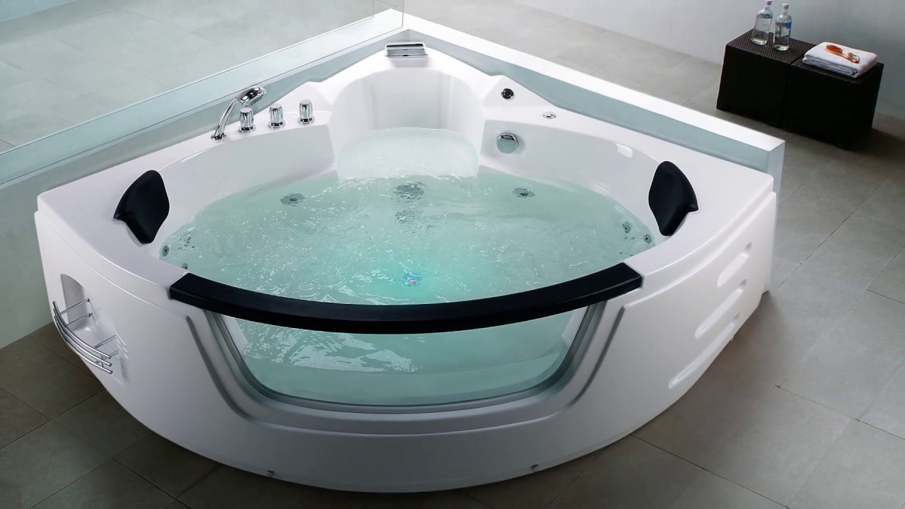 whirlpool badewanne mallorca eckwanne mit 12 massage d sen glas led f r bad spa nur 1199 youtube. Black Bedroom Furniture Sets. Home Design Ideas