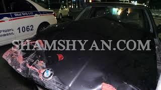 Ավտովթար Երևանում  Արգավանդում BMW ն բախվել է բետոնե արգելապատնեշներին և երկաթե ճաղավանդակներին