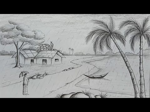 how-to-draw-scenery-of-rainy-season-by-pencil-sketch-step-by-step