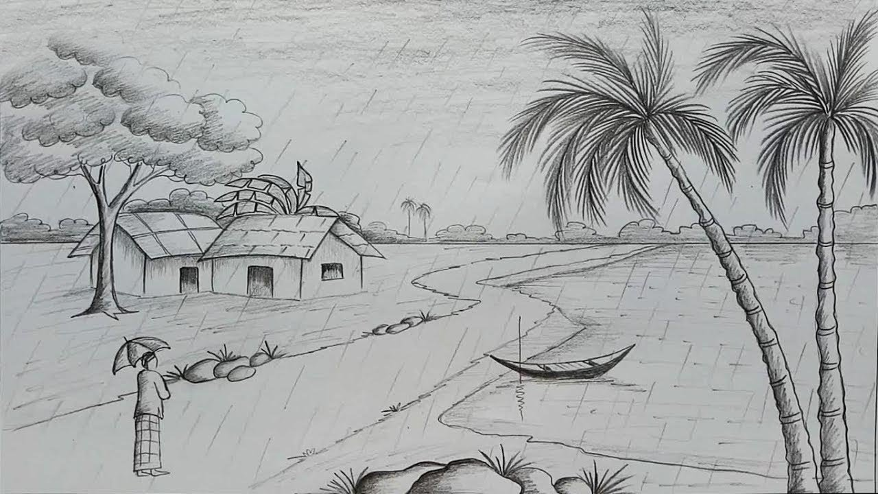 Rainy Season Drawing Sketches Pencil Sketch