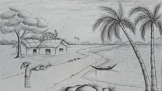 How to draw scenery of rainy season by pencil sketch step by step