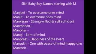 Sikh baby boy names starting with M - Modern and unique punjabi boy names