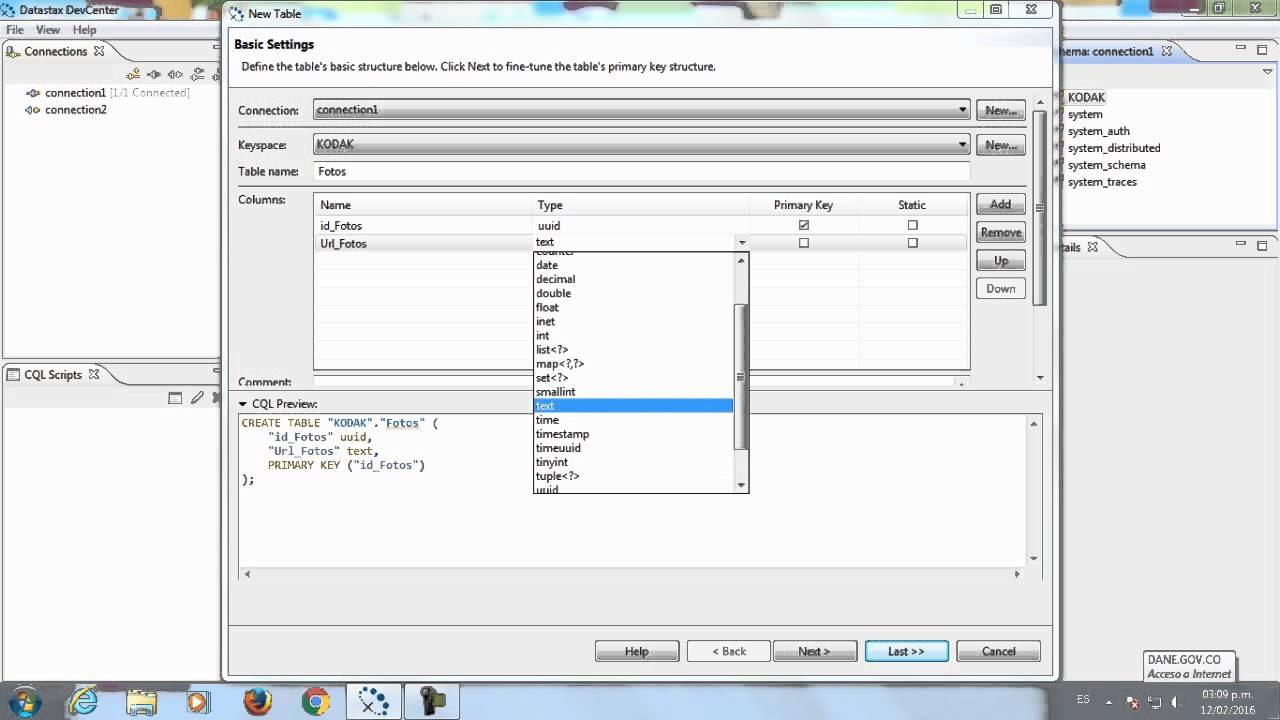 Creación de Bases de Datos, Tablas con CASSANDRA