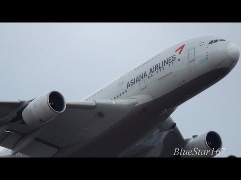 Asiana Airlines Airbus A380-800 (HL7625) takeoff from NRT/RJAA (Tokyo - Narita) RWY 16R