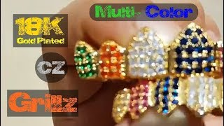 18k Gold Plated Multi-Color CZ Iced-Out Bling Grillz Set
