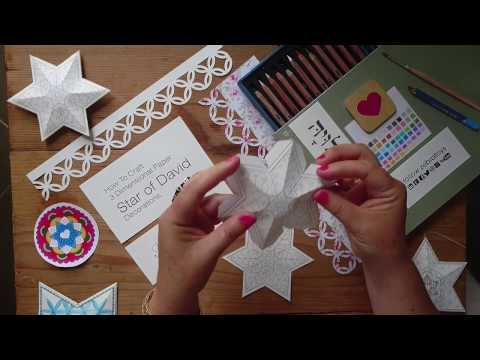Watch My Video and Learn How to Craft 3 Dimensional Paper Star of David Decorations by HaLeLuYa