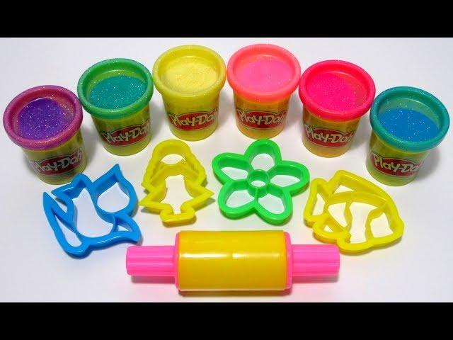 Учим цвета на английском с блестящим пластилином Play-Doh Sparkle и формочками.