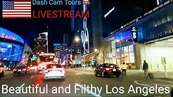 Recorded as LIVE STREAM     Homeless in Downtown Los Angels    Dash Cam Tours 🚘