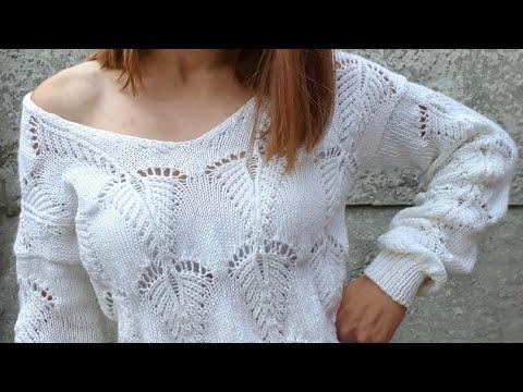 Бежевый свитер спицами для женщин