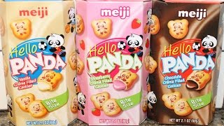 Meiji Hello Panda: Vanilla, Strawberry & Chocolate Crème Filled Cookies Review