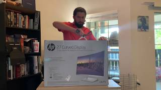 hP 27 inch curved monitor unboxing and review