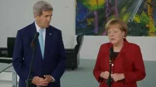 Secretary Kerry Delivers Remarks With German Chancellor Merkel