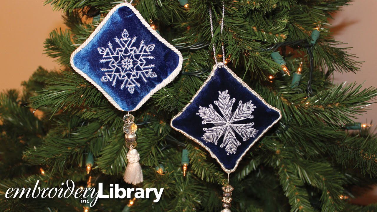 embroidered velvet ornaments - Embroidered Christmas Ornaments