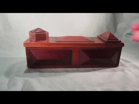 c1900 Folk Art Wood Puzzle Box (secret trick to open)
