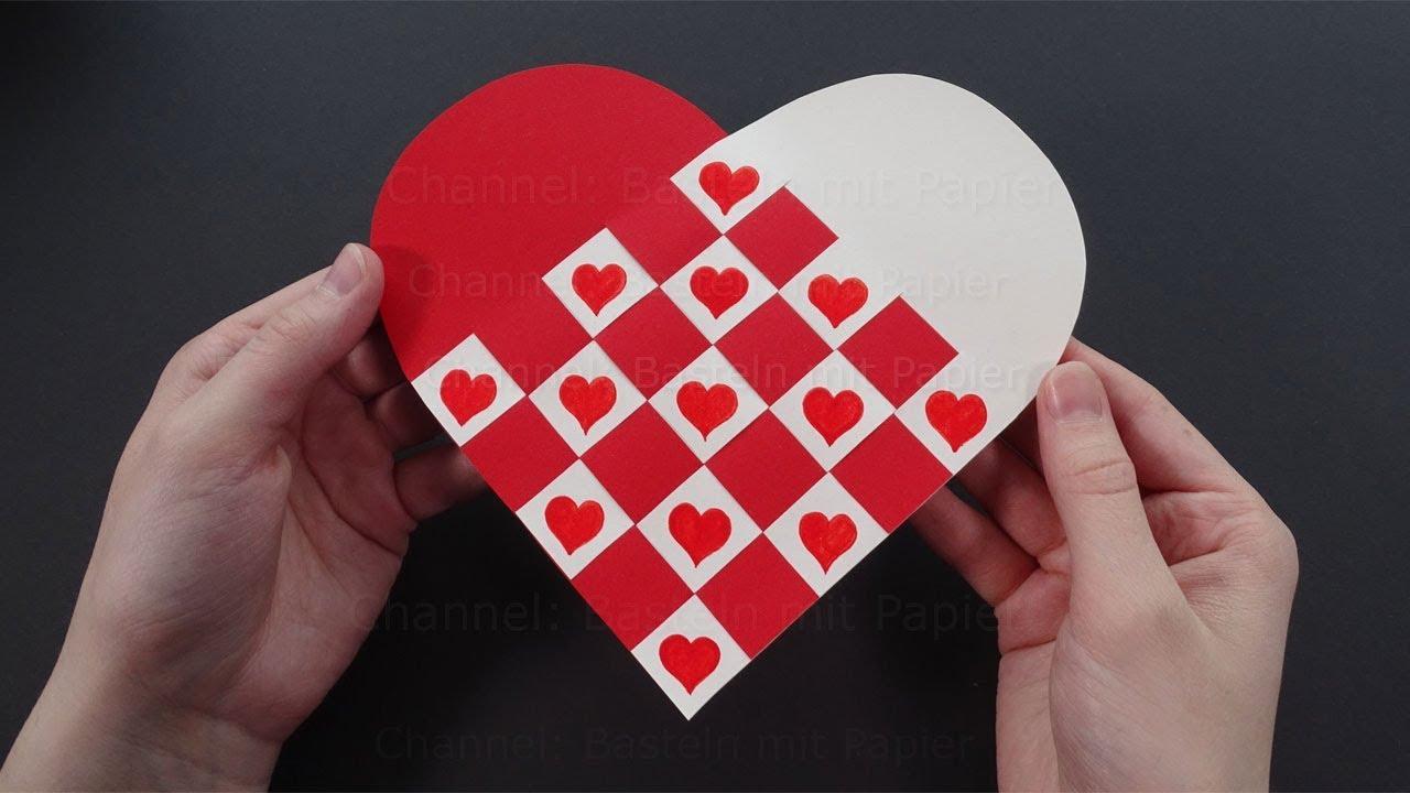 Herz Basteln Mit Papier Herzen Flechten Als DIY Geschenk
