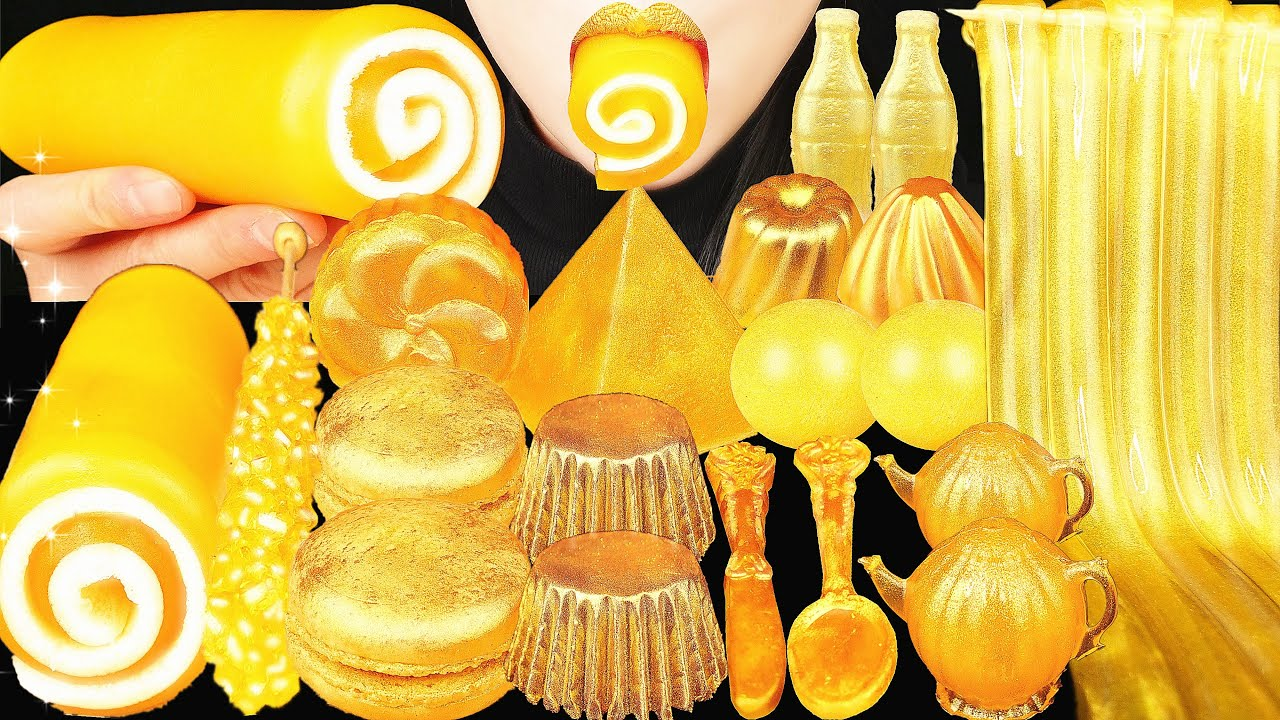 ASMR GOLD FOOD EDIBLE TOWEL JELLO CAKE, SPOON, CHOCOLATE, NIK L NIP, JELLY NOODLES, MACARON MOCHI 먹방