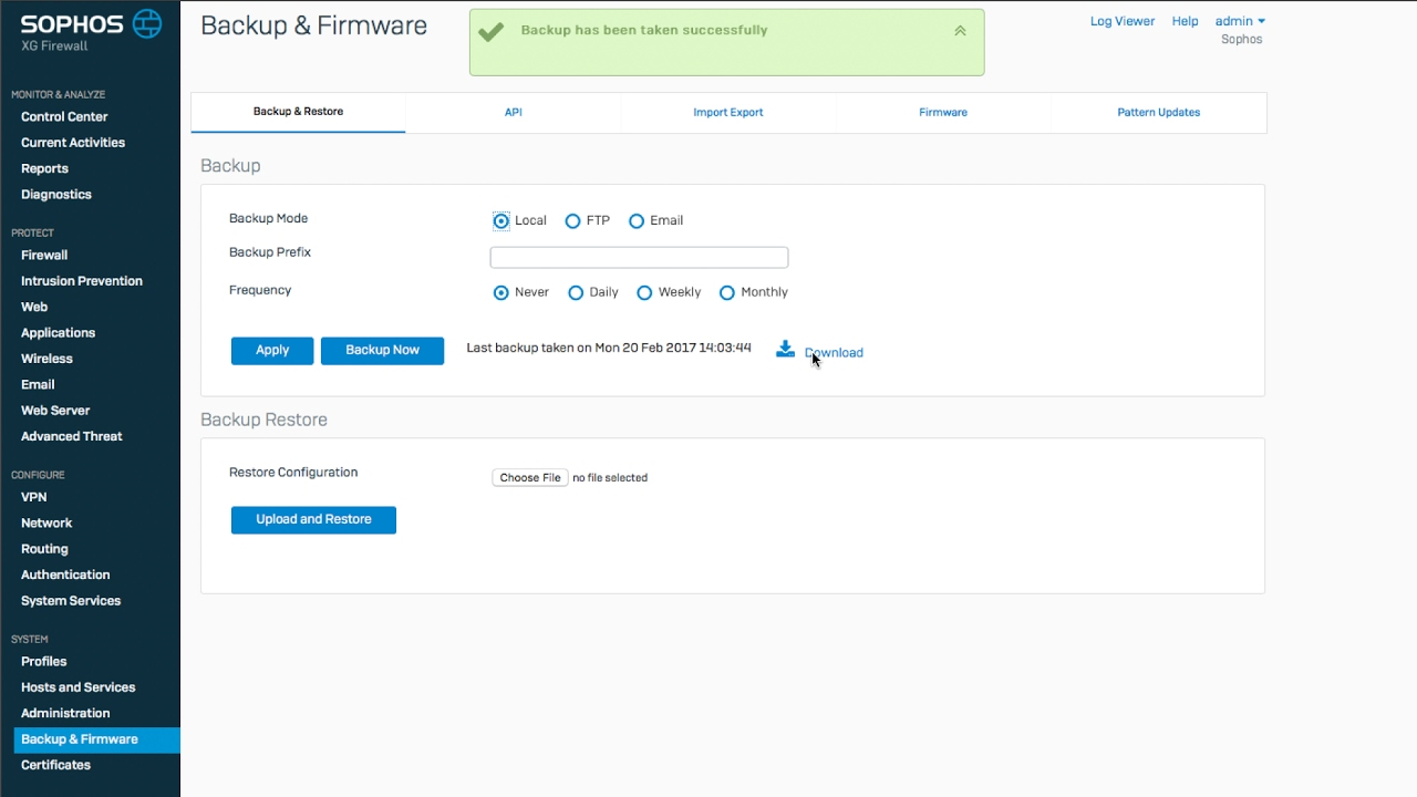 [Sophos XG Firewall] Getting Started: Backup and Restore