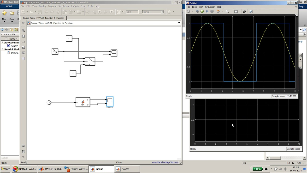 Create a Square Wave Generator using Level-2 S-Function and MATLAB Function  block in Simulink